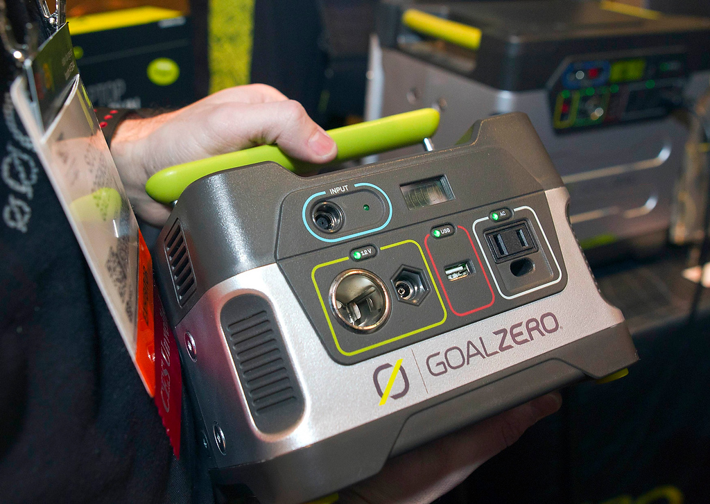 . A GoalZero solar powered Yeti 150 is displayed at the opening press event of the Consumer Electronics Show (CES) in Las Vegas January 6, 2013. A utility class Yeti1250 solar generator kit is also available. The smaller unit is $199.00. The larger unit is in stores now and runs about $2000.00 with solar panels. (REUTERS/Steve Marcus)
