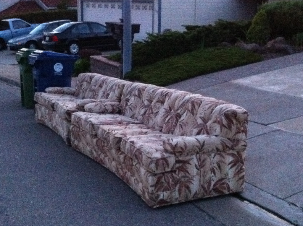. This attractive sofa and loveseat belonged to Kathleen Gose\'s mother. They\'re not in bad shape, but Gose couldn\'t get anyone to take them, so they went to bulk garbage pickup.