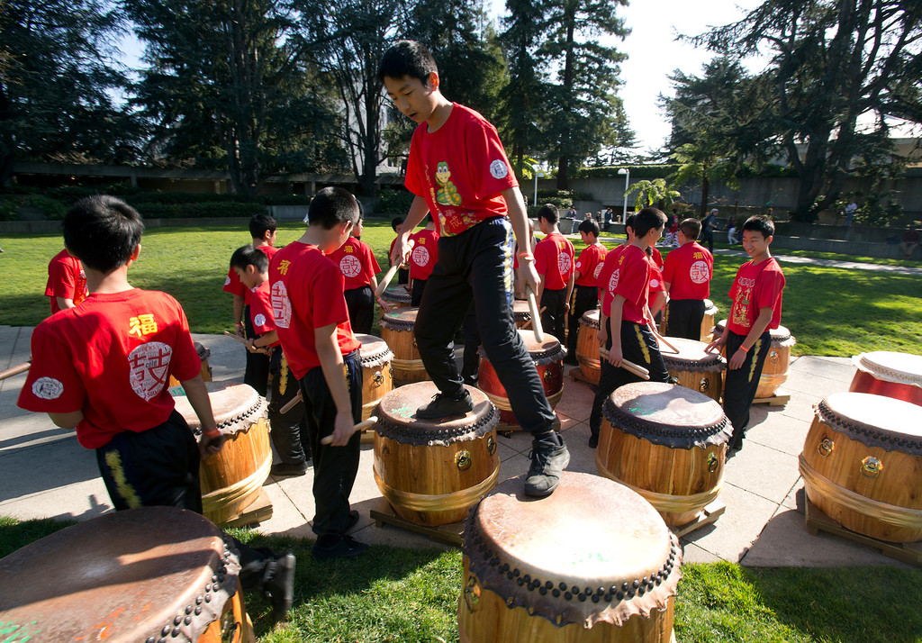 . Drummers from the Developing Virtue Secondary School of Ukiah, Calif. prepare to perform a Chinese 24 Seasons program, during the Oakland Museum of California\'s Lunar New Year celebration, Sunday, Feb. 17, 2013 in Oakland, Calif. (D. Ross Cameron/Staff)