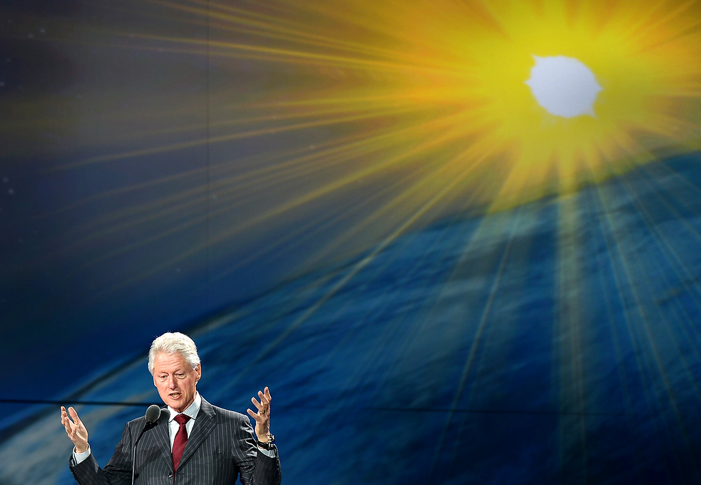 . Former US President Bill Clinton speaks as part of Samsung\'s Hope For Children, during Samsung\'s press conference at the 2013 International CES at the Las Vegas Convention Center on January 9, 2013 in Las Vegas, Nevada. (JOE KLAMAR/AFP/Getty Images)