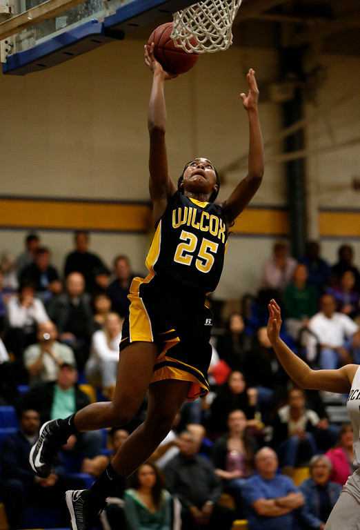 . Wilcox High School\'s D\'Airrien Jackson (25) makes a shot against Archbishop Mitty High School in the second period for the CCS Open Division Girls Basketball semifinals at Oak Grove High School in San Jose, Calif., on Wednesday, Feb. 27, 2013.  (Nhat V. Meyer/Staff)