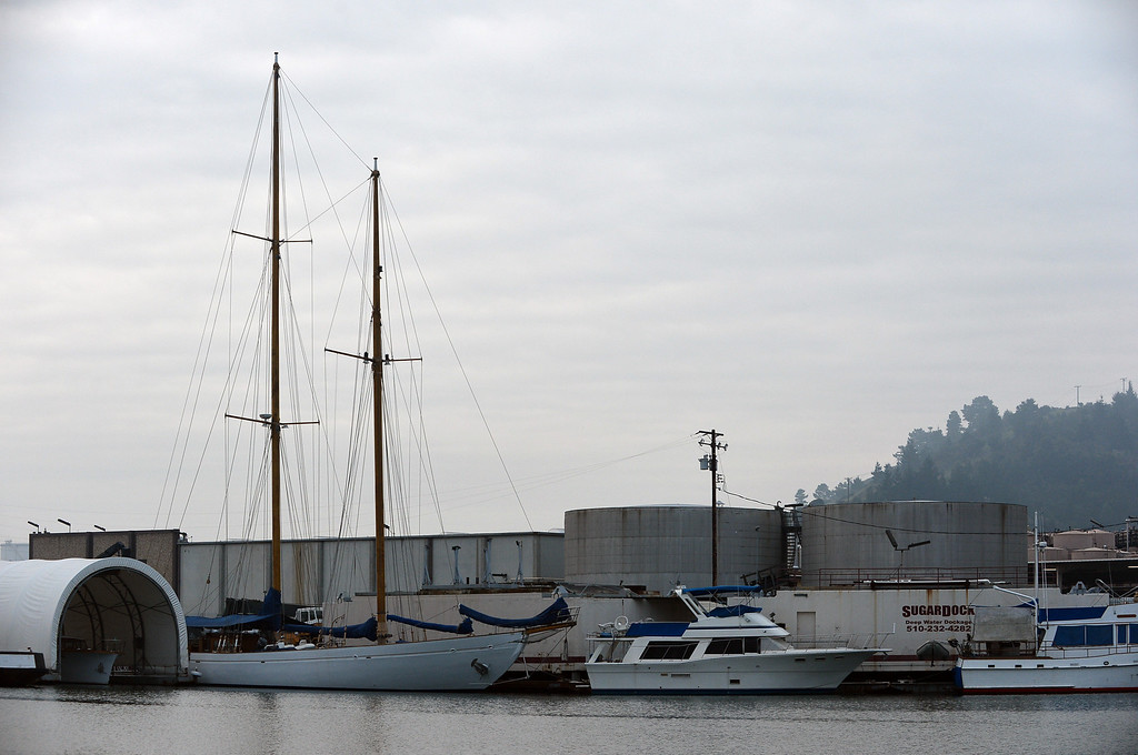 . The masts of the Eros, a restored 1939 English schooner owned by Bill and Grace Bodle, rise from her deck as she sits in port in Richmond, Calif. on Thursday, Jan. 24, 2013. (Kristopher Skinner/Staff)