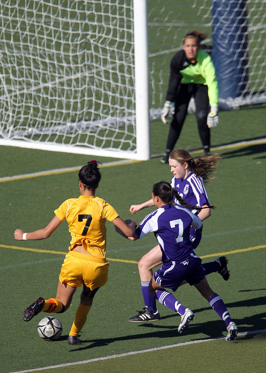 . Bishop O\'Dowd\'s Ryan Walker-Hartshorn (7) drives the ball against Piedmont in the second half of overtime of their North Coast Section Division II Girls Soccer Championship at Dublin High School soccer field in Dublin, Calif., on Saturday, Feb. 23, 2013. Bishop O\'Dowd won 3-2 in a series of penalty kicks. (Ray Chavez/Staff)