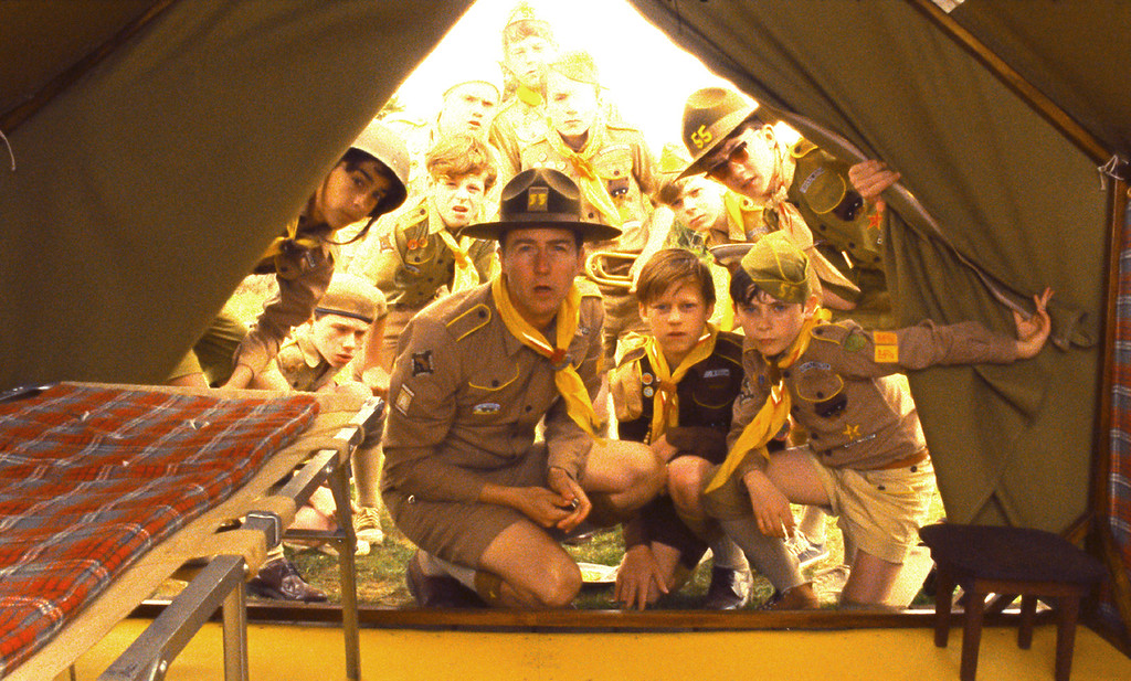 """. BEST PLAID ON PLAID: Scoutmaster Ward (Edward Norton) inspects his young campers\' tents to make sure every (plaid) thing is in order in \""""Moonrise Kingdom.\"""" (Focus Features)"""