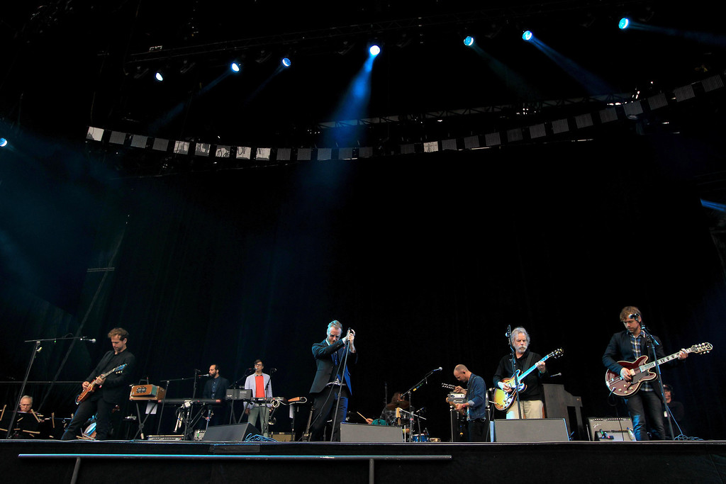 . Bob Weir, formerly of the Grateful Dead, second from right, sits in with The National on the Land\'s End stage during the 6th annual Outside Lands Music and Arts Festival in Golden Gate Park in San Francisco, Calif., on Friday, Aug. 9, 2013.  (Jane Tyska/Bay Area News Group)