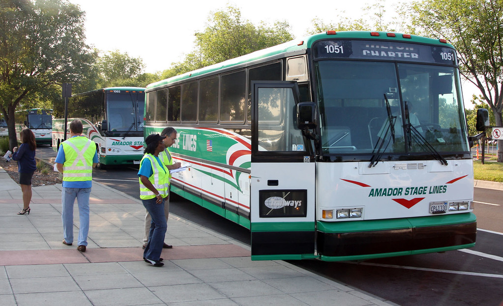 . Buses chartered by BART  management wait for passengers on Owens Dr. at the Pleasanton-Dublin station in Pleasanton, Calif. on Monday, July 1,, 2013. A strike by BART employees created commute traffic nightmares throughout the Bay Area on Monday. (Jim Stevens/Bay Area News Group)