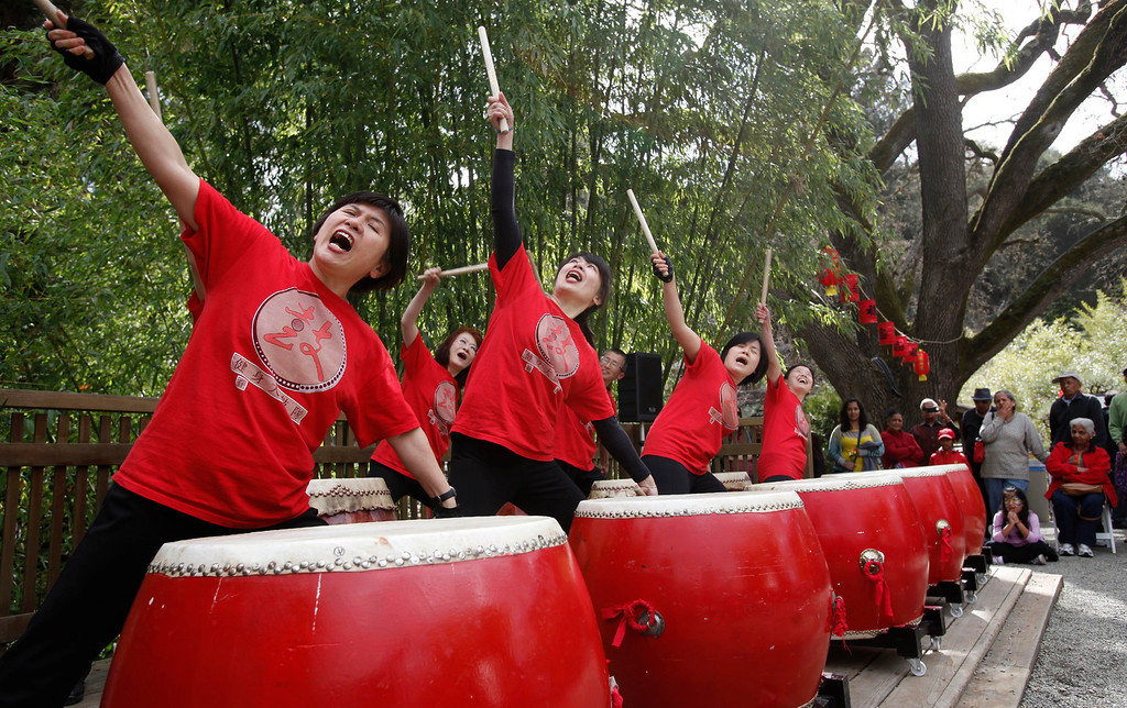 ". The Ladies Drumming Group takes center stage at Hakone Estate and Gardens during a Lunar New Year of the Snake festival with a ""Chinese Village Fair\"" on Sunday afternoon, March 3, 2013 in Saratoga, Calif. (Karl Mondon/Staff)"