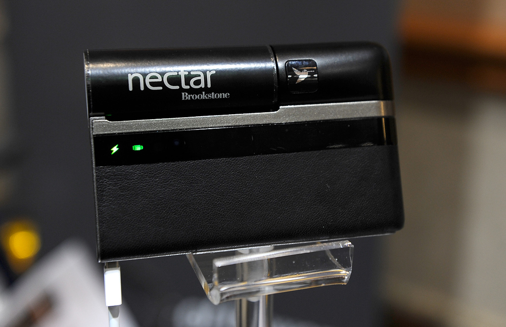 . The Nectar by Lilliputian is on display at a press event at the Mandalay Bay Convention Center for the 2013 International CES on January 6, 2013 in Las Vegas, Nevada. The power supply provide a portable source to recharge your mobile devices. (Photo by David Becker/Getty Images)