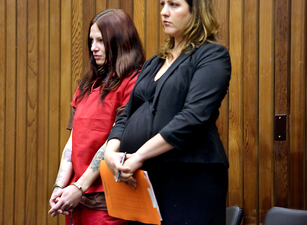 . Alix Tichelman stands with public defender Athena Reis as she is arraigned in Santa Cruz County Superior Court on Wednesday on manslaughter charges for the November 2013 death of Google executive Forrest Hayes on his yacht in Santa Cruz. (Shmuel Thaler/Santa Cruz Sentinel)