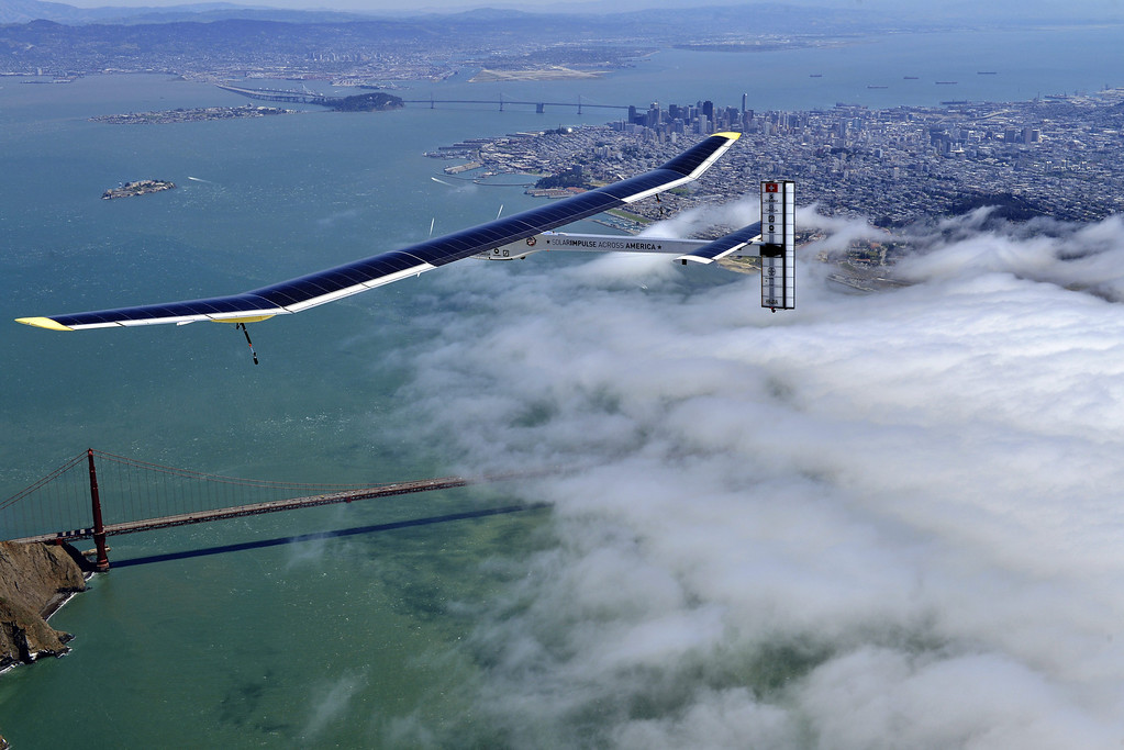 . The Solar Impulse passes over the Golden Gate Bridge in San Francisco, Calif., during a test flight from Moffett Field in Mountain View on Tuesday, April 23, 2013. Solar Impulse\'s HB-SIA prototype is making its sixth test flight after being reassembled. The plane will then fly across America in stages over May-July from San Francisco to Washington, D.C., and New York City. (Jean Revillard/Rezo/Solar Impulse/Polaris)