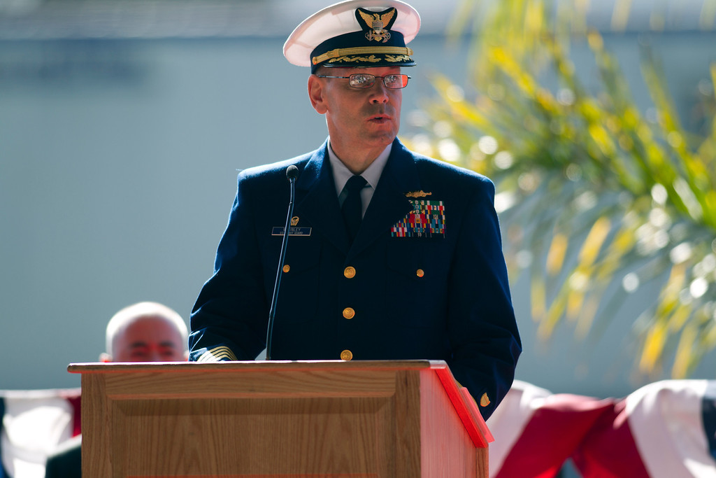 . Capt. John McKinley, commander of the U.S. Coast Guard Cutter Waesche, speaks during a memorial service for Boatswain\'s Mate Third Class Travis R. Obendorf, Thursday, Jan. 30, 2014 on Coast Guard Island in Alameda, Calif. Obendorf suffered fatal injuries while performing his duties aboard the Waesche as part of a search and rescue off the coast of the Alaska in November 2013. (D. Ross Cameron/Bay Area News Group)