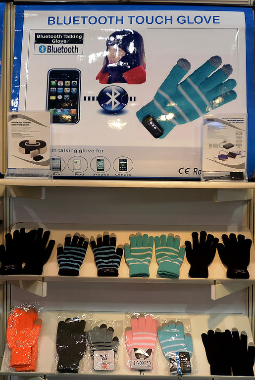 . Blue tooth gloves are displayed at the booth of the Magic Protection Technology Co. of Taiwan during the 2013 International CES at the Las Vegas Convention Center on January 8, 2013 in Las Vegas, Nevada. (JOE KLAMAR/AFP/Getty Images)