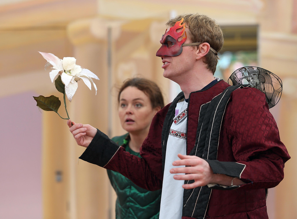 """. San Francisco Shakespeare actors Brandon Mears, right, and Sabrina De Mio perform \""""A Midsummer Night\'s Dream\"""" on the Aesop\'s Playhouse stage at Children\'s Fairyland in Oakland, Calif., on Friday, March 15, 2013. (Jane Tyska/Staff)"""