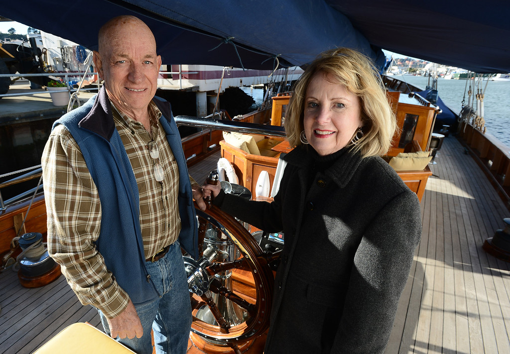 . Ship owners and captains Bill and Grace Bodle are photographed aboard the Eros, a restored 1939 English schooner, in Richmond, Calif. on Thursday, Jan. 10, 2013. The Bodles have worked with the Sentinels of Freedom to provide sailing expeditions to wounded veterans. (Kristopher Skinner/Staff)