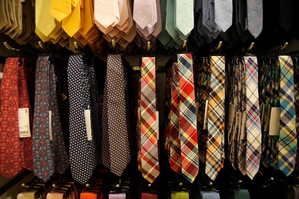 . Men\'s ties for sale at Uniqlo clothing store on Powell St. in downtown San Francisco, Calif. on Thursday, Jan. 17, 2013.  They opened their store in San Francisco in October 2012.  (Nhat V. Meyer/Staff)