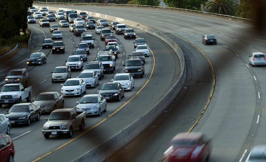 . Traffic backs up on westbound Interstate Highway 580 near Grand Avenue, at left, as BART commuters scrambled to find alternative routes to San Francisco on the first day of a strike by workers of the mass transit system, Monday, July 1, 2013 in Oakland, Calif. (D. Ross Cameron/Bay Area News Group)