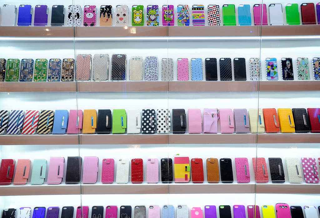 . A display of mobile phone covers are seen at the 2013 International CES at the Las Vegas Convention Center on January 9, 2013 in Las Vegas, Nevada. (Photo by David Becker/Getty Images)