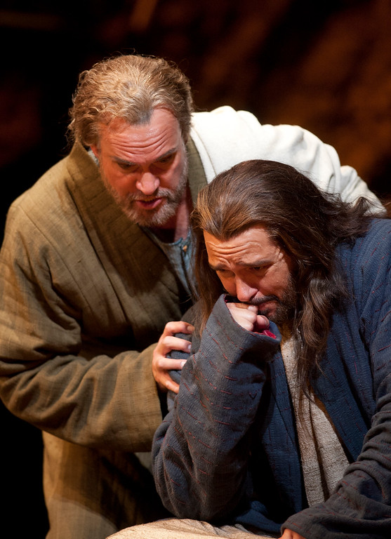 """. Peter (William Burden), left, tries to comfort Yeshua (Nathan Gunn) in a scene from San Francisco Opera\'s world premiere of Mark Adamo\'s \""""The Gospel of Mary Magdalene,\"""" Sunday, June 16, 2013 at the War Memorial Opera House in San Francisco. (D. Ross Cameron/Bay Area News Group)"""