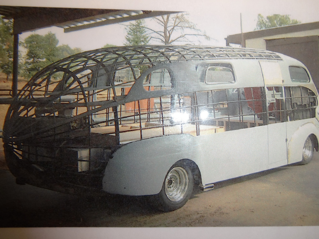 . Art Himsl\'s one-of-a-kind 1937 Chris Craft Motorhome which has an aluminum skeleton.  (photo by David Krumboltz)
