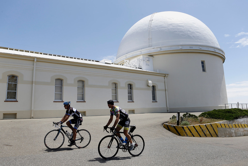 . Chris Cain, left, and Ben Albracht arrive at the summit of Mt. Hamilton and Lick Observatory east of San Jose, Calif. on Wednesday, May 8, 2013. The observatory will be celebrating its 125th anniversary.  (Gary Reyes/ Bay Area News Group)