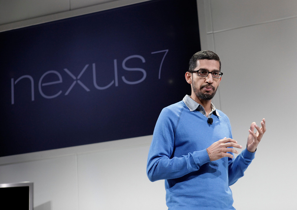 . Sundar Pichai, Google senior vice president in charge of Android and Chrome, introduces the Nexus7 tablet at Dogpatch Studios in San Francisco, Calif. on Wednesday, July 24, 2013.  (Gary Reyes/Bay Area News Group)