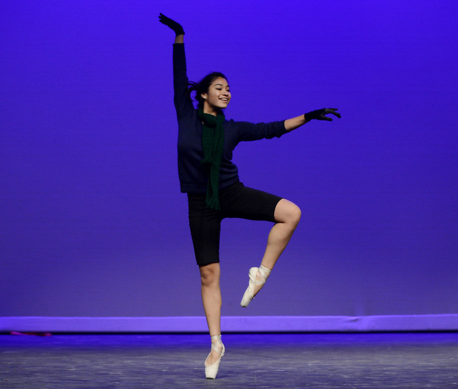 . Andrea Herrera of Antioch dances during a dress rehearsal in preparation for the Jan. 19 opening gala at the restored California Theatre in Pittsburg, Calif. on Tuesday, Jan. 15, 2013. (Susan Tripp Pollard/Staff)