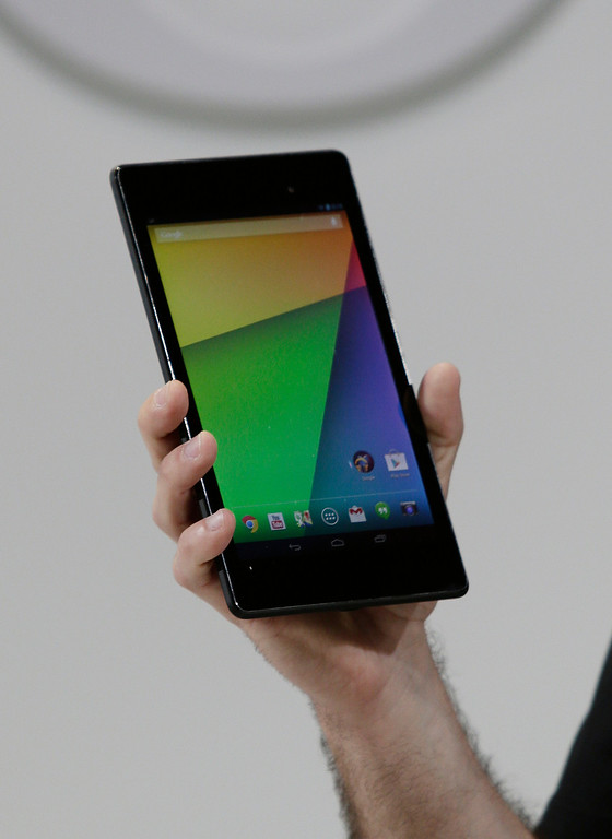 . Hugo Barra, vice president, Android Product Management at Google, holds the new Nexus7 tablet at Dogpatch Studios in San Francisco, Calif. on Wednesday, July 24, 2013.  (Gary Reyes/Bay Area News Group)