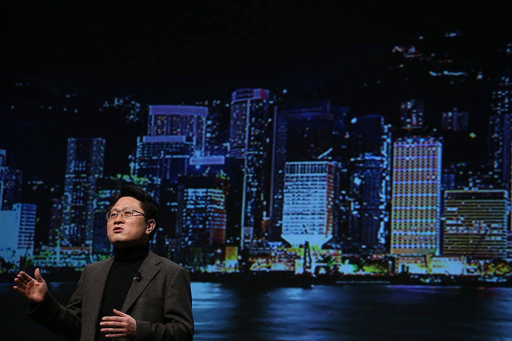 . Dr. Skott Ahn, LG Electronics Chief Technology Officer, speaks during a press conference during the 2013 International CES at the Mandalay Bay Convention Center on January 7, 2013 in Las Vegas, Nevada. (Photo by Justin Sullivan/Getty Images)