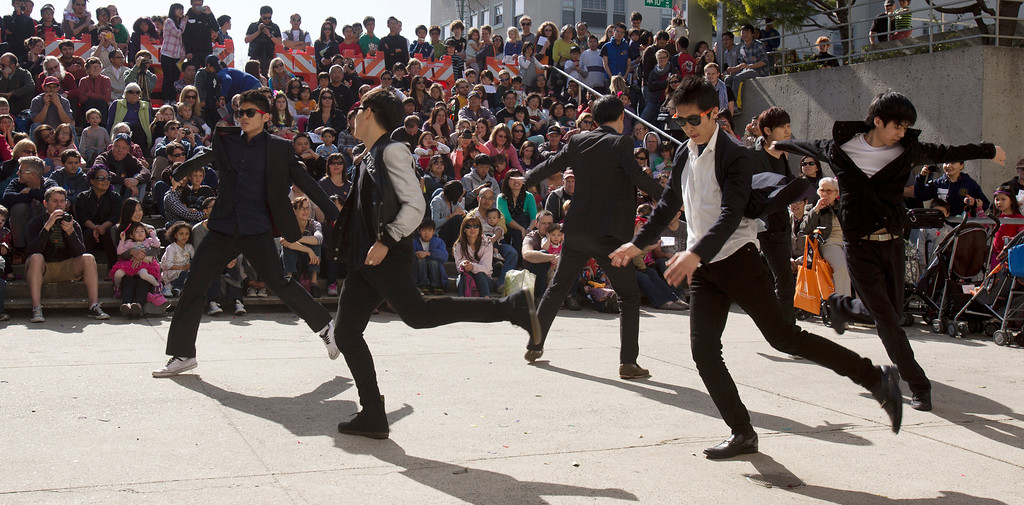 ". Members of the Korean Performance Group from the University of California dance ""Gangnam Style,\"" during the Oakland Museum of California\'s Lunar New Year celebration, Sunday, Feb. 17, 2013 in Oakland, Calif. (D. Ross Cameron/Staff)"