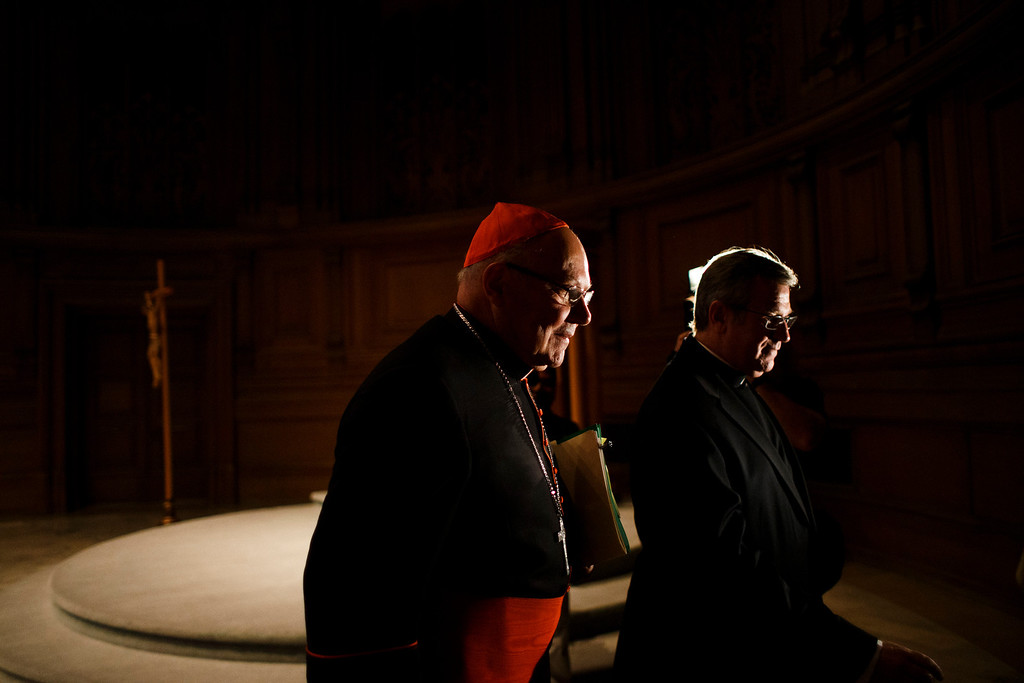 . Cardinal William Levada, left, departs from his press conference with Rev. James McKearney of St. Patrick\'s Seminary & University on Feb. 25, 2013 at St. Patrick\'s Seminary & University in Menlo Park. (Dai Sugano/Staff)