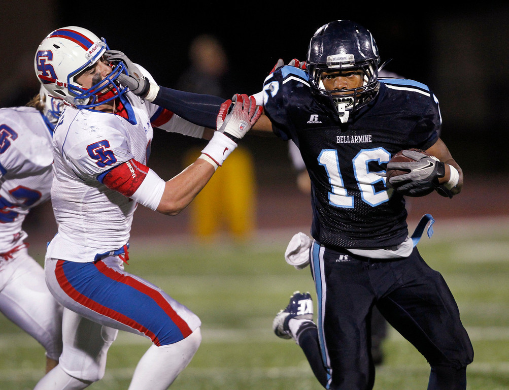 . <p>14. KENNETH OLUGBODE � LINEBACKER � BELLARMINE</p> Olugbode (16) fends off St. Ignatius\' Matt Emery on a run in the fourth quarter at San Jose City College in San Jose, Calif. on Friday, November 30, 2012. (Jim Gensheimer/Staff)
