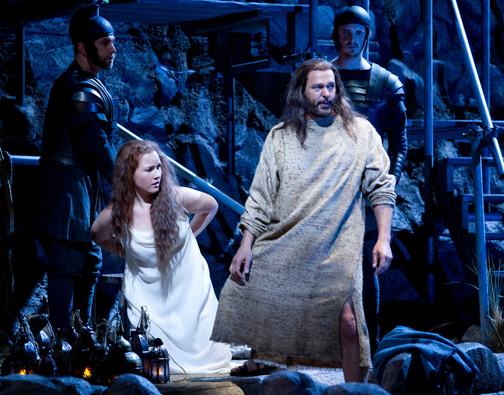 """. Yeshua (Nathan Gunn), right, comes to the defense of Mary Magdalene (Sasha Cooke) in a scene from San Francisco Opera\'s world premiere of Mark Adamo\'s \""""The Gospel of Mary Magdalene,\"""" Sunday, June 16, 2013 at the War Memorial Opera House in San Francisco. (D. Ross Cameron/Bay Area News Group)"""