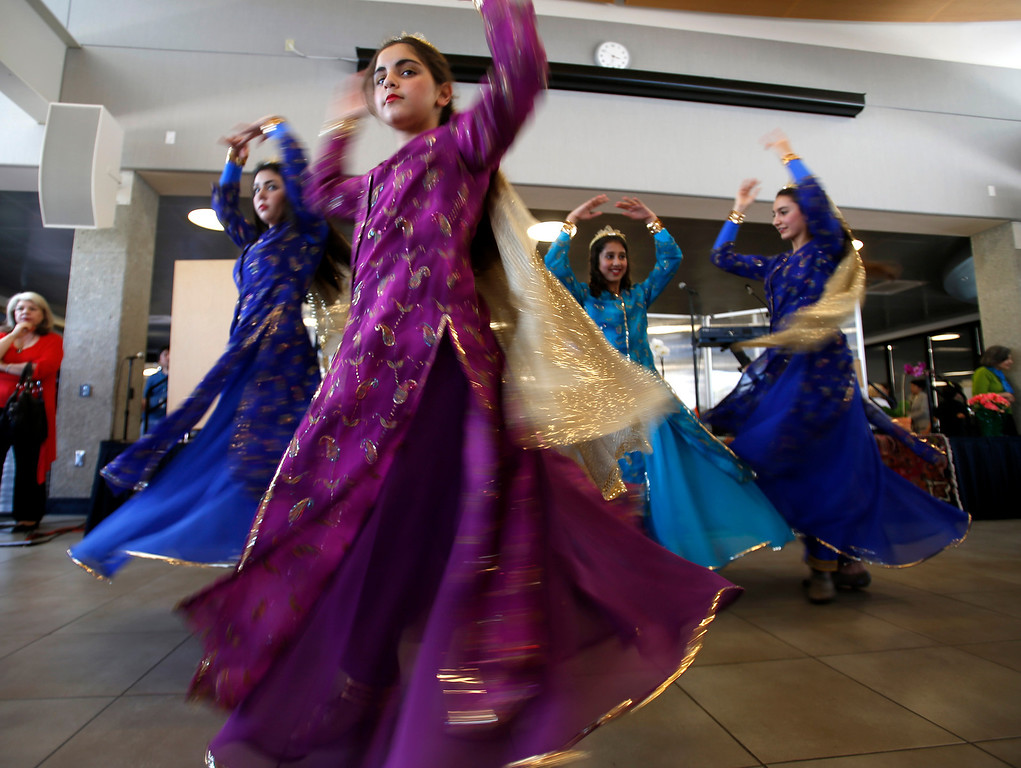 . Dancers with the Beshkan Dance Academy perform during the West Valley College 6th Annual Persian New Year Celebration at the college in Saratoga, Calif. on Monday, March 10, 2014.  (Nhat V. Meyer/Bay Area News Group)