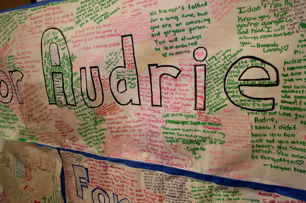 . A poster to honor Audrie Pott is displayed at a news conference in San Jose, Calif. on Monday, April 15, 2013. Saratoga High School student, Audrie Pott, 15, committed suicide last September following an alleged sexual assault by three 16-year-old classmates. Photos of the assault were shared publicly prompting her to take her own life eight days later. (Gary Reyes/Bay Area News Group)