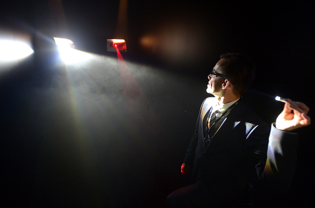 . Audi\'s revolutionary Matrix Highbeam and Laser beam fog light technology is introduced during the 2013 International CES at the Las Vegas Convention Center on January 8, 2013 in Las Vegas, Nevada. (JOE KLAMAR/AFP/Getty Images)