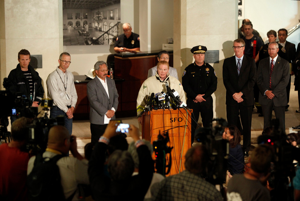 . San Francisco Fire Chief Joanne Hayes-White confirms that two people were killed in the plane crash of the Asiana Airlines Flight 214 at San Francisco International Airport on Saturday July 6, 2013.  (Karl Mondon/Bay Area News Group)