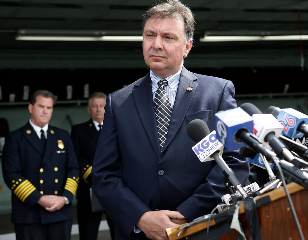 . Robert Foucrault, San Mateo Coroner, speaks at a press conference to discuss last Saturday\'s deadly limousine fire at the CHP Headquarters in Redwood City, Calif. on Monday, May 6, 2013. Five woman including a bride died when their limousine became engulfed in flames on the San Mateo Bridge while on their way to a bridal shower. Four women and the driver were able to escape the flames.  (Gary Reyes/ Bay Area News Group)