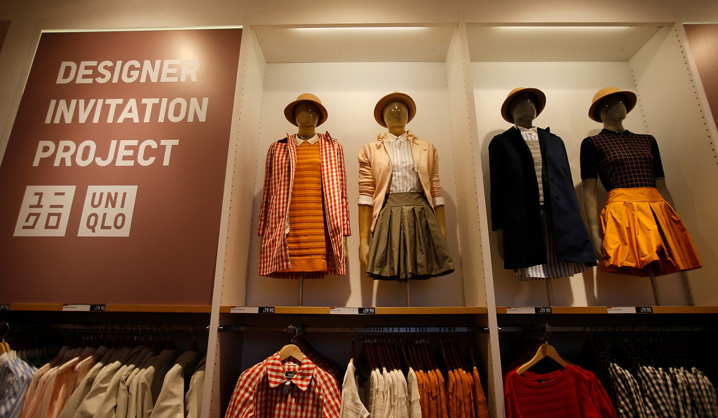 """. Mannequins display the \""""Designer Invitation Project\"""" on the upper floor of the Uniqlo clothing store on Powell St. in downtown San Francisco, Calif. on Thursday, Jan. 17, 2013.  They opened their store in San Francisco in October 2012.  (Nhat V. Meyer/Staff)"""