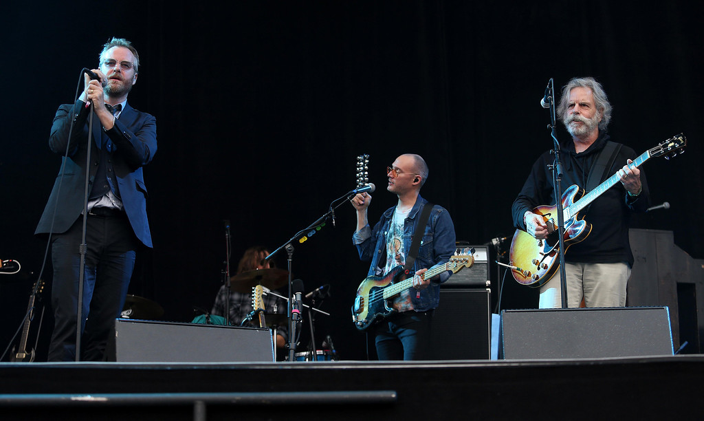 . Matt Berninger, left, and bassist Scott Devendorf, center, of The National, jam with Bob Weir, right, formerly of the Grateful Dead, on the Land\'s End stage during the 6th annual Outside Lands Music and Arts Festival in Golden Gate Park in San Francisco, Calif., on Friday, Aug. 9, 2013. (Jane Tyska/Bay Area News Group)