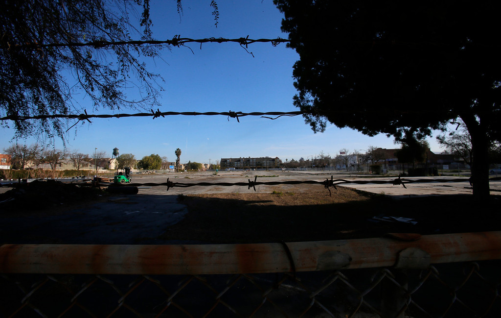 . An empty lot at looking south on E. Taylor St. in-between N. 6th St. and N. 7th St. in Japantown in San Jose, Calif., on Monday, Feb. 25, 2013.  After years of on-again, off-again plans for development of five acres of the city�s former Corporation Yard in Japantown, the San Jose City Council on Tuesday is expected to approve a term sheet with a developer in an effort to revitalize Japantown with housing, retail, an urban plaza, performance space and strong historical connection.  (Nhat V. Meyer/Staff)