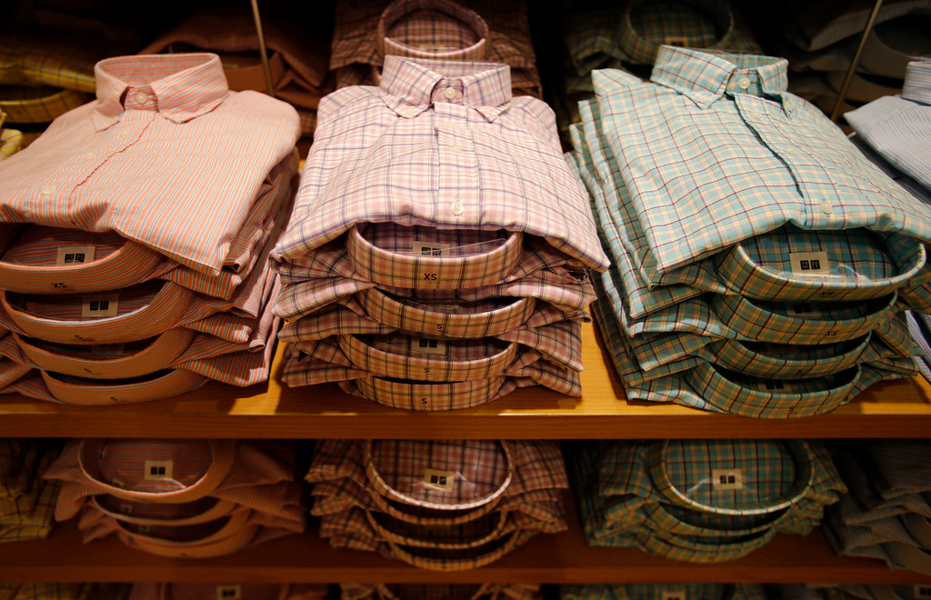 . Mens shirts for sale at Uniqlo clothing store on Powell St. in downtown San Francisco, Calif. on Thursday, Jan. 17, 2013.  They opened their store in San Francisco in October 2012.  (Nhat V. Meyer/Staff)