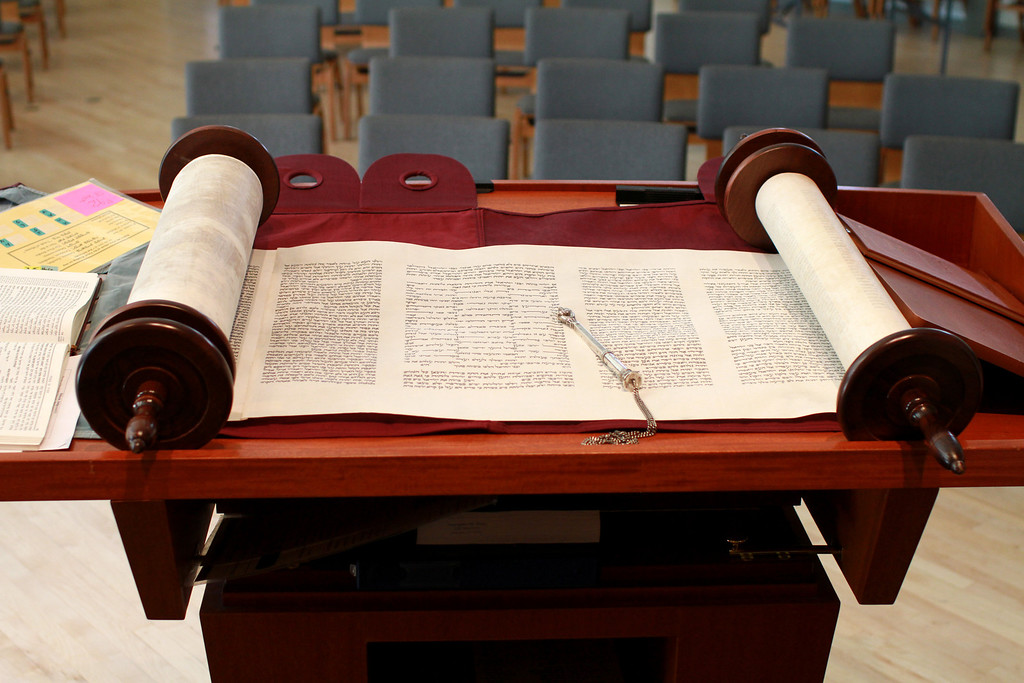 . A unique Torah is laid out on a reading table inside Congregation Etz Chayim in Palo Alto on Friday, Jan. 25, 2013. This Torah is one of only two in the world that was written from beginning to end by a woman. The hand-written scroll is on loan from San Francisco�s Contemporary Jewish Museum and will be read today, Saturday, Jan. 26, 2013, during morning services at the congregation.  (Kirstina Sangsahachart/ Daily News)