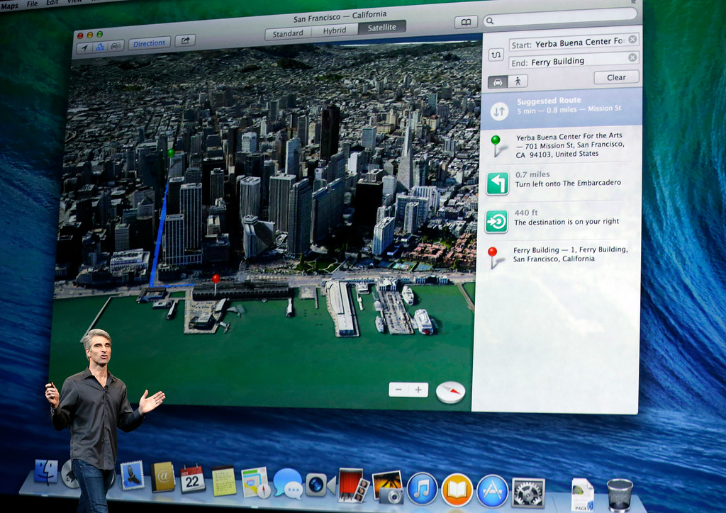 . Craig Federighi, senior vice president of Software Engineering at Apple, speaks on stage before a new product announcement on Tuesday, Oct. 22, 2013, in San Francisco. (AP Photo/Marcio Jose Sanchez)