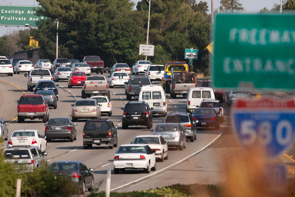 . Commuter traffic crawls along westbound Interstate Highway 580 near Coolidge Avenue on the second day of a strike by Bay Area Rapid Transit (BART) workers, Tuesday, July 2, 2013 in Oakland, Calif. BART typically carries about 400,000 riders daily. (D. Ross Cameron/Bay Area News Group)