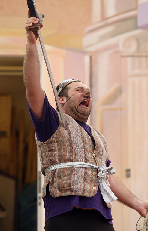 """. Steven Westdahl performs in San Francisco Shakespeare\'s \""""A Midsummer Night\'s Dream\"""" on the Aesop\'s Playhouse stage at Children\'s Fairyland in Oakland, Calif., on Friday, March 15, 2013.  (Jane Tyska/Staff)"""