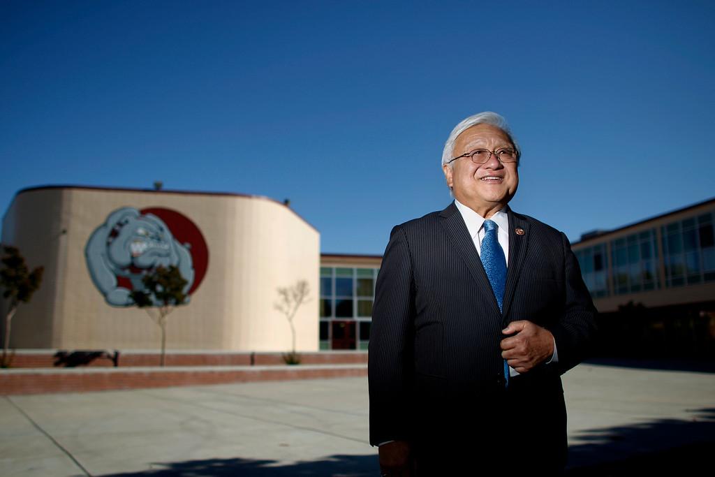 . Portrait of alumni Congressman Mike Honda, class of 1959, at San Jose High, in San Jose on Monday,  May 13, 2013. (Josie Lepe/Bay Area News Group)