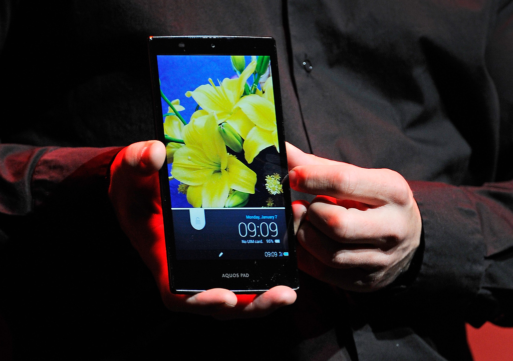 . A Sharp Aquos Pad is displayed using IGZO technology during a press event at the Mandalay Bay Convention Center for the 2013 International CES on January 7, 2013 in Las Vegas, Nevada. (Photo by David Becker/Getty Images)