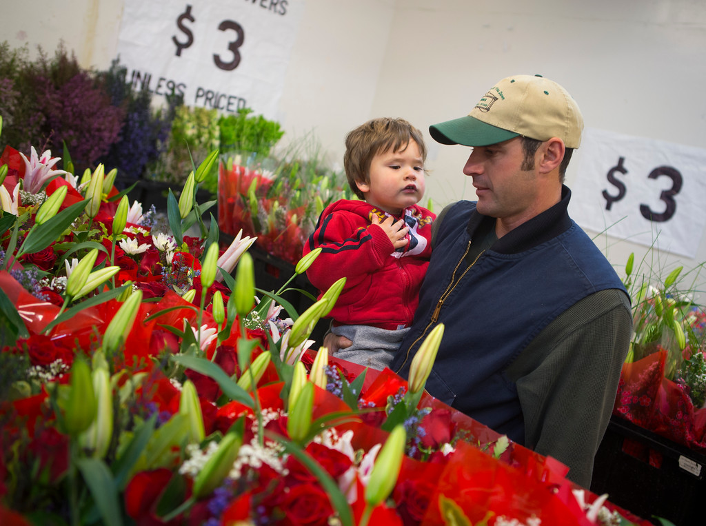 . Richard Holtz and son Owen, 2, of Half Moon Bay look for flowers at Repetto\'s Greenhouse Florist and  in Half Moon Bay, Calif. on Wednesday, Feb. 13, 2013.