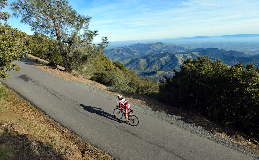 . Perry Solomon, of Alamo, bikes up the last steep 200 yards of Mount Diablo\'s narrow Summit Road on Mount Diablo, Calif., on Friday, Feb. 1, 2013. Mount Diablo\'s summit will be the finish line for stage 7 of the Amgen Tour of California. The race, held on Saturday May 18, will start in Livermore. (Doug Duran/Staff)