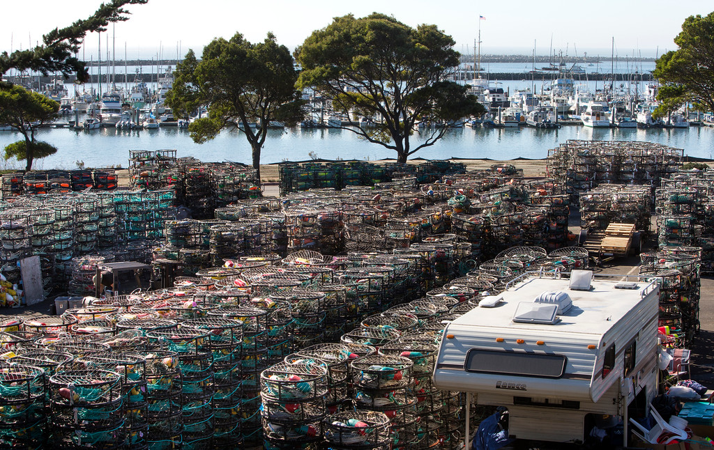 . Thousands of crab pots fill a parking lot at Pillar Point Harbor, in Half Moon Bay, Calif., on Friday, Nov. 8, 2013.  Fishermen are getting ready  for the commercial Dungeness crab season, which gets underway Nov. 15.(John Green/Bay Area News Group)